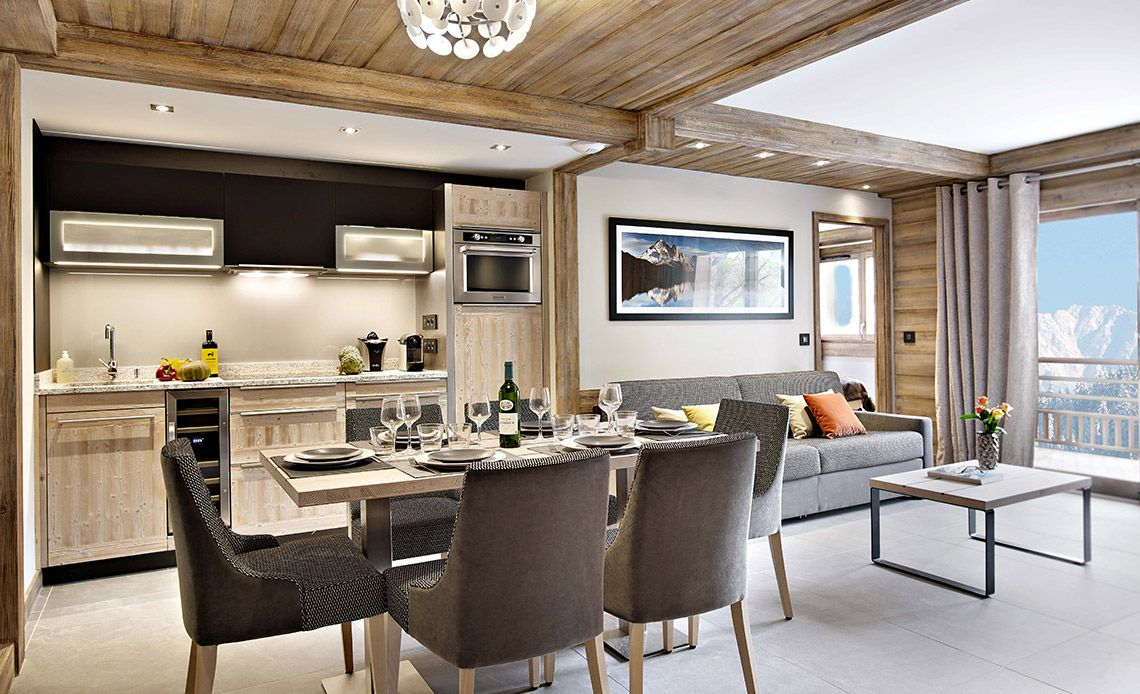 Chalets Éléna - kitchen living room | Résidence Chamonix - Les Houches | MGM Hôtels & Résidences